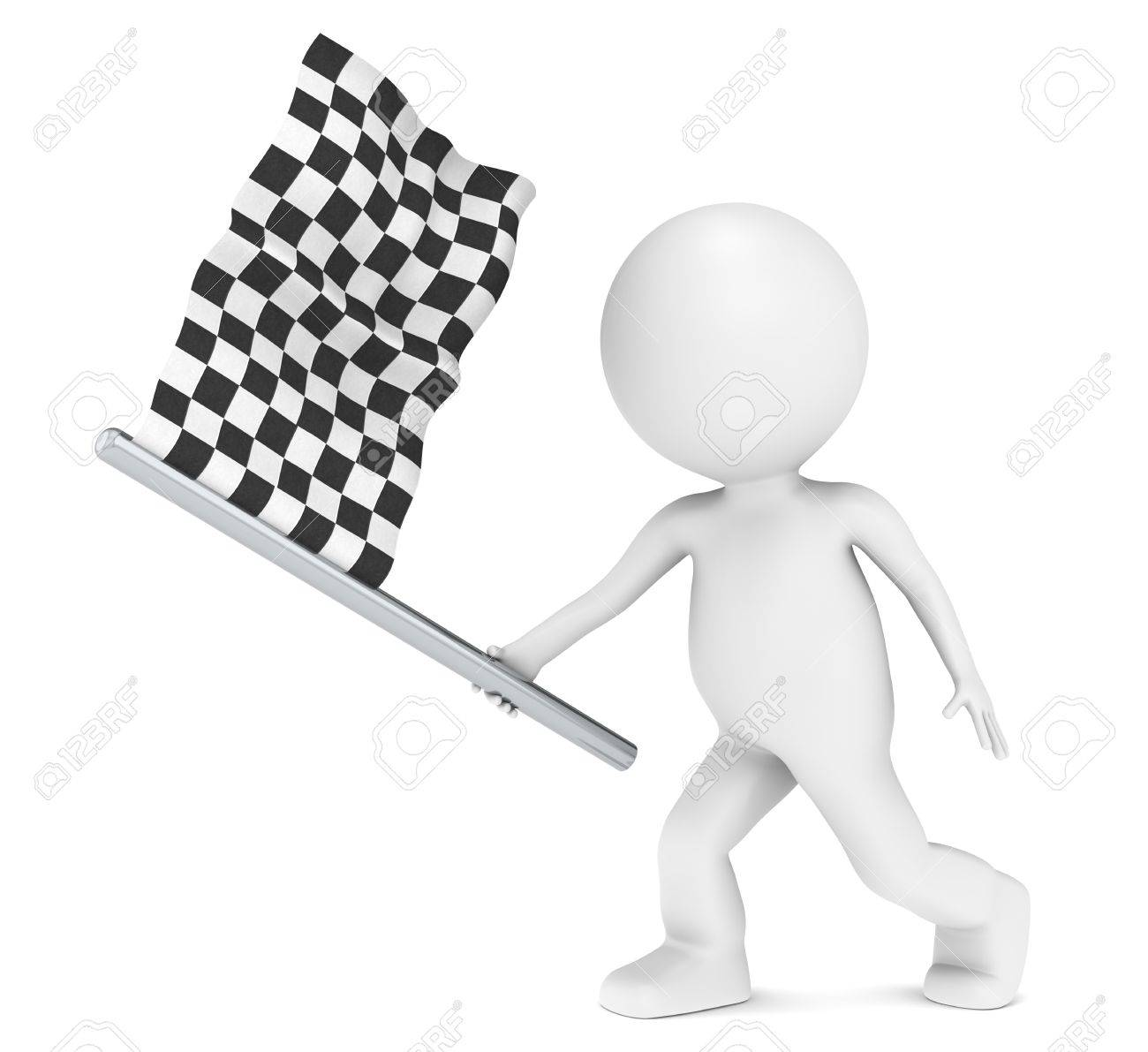 Competition. 3D little human character holding Checker Flag Stock Photo - 10069196