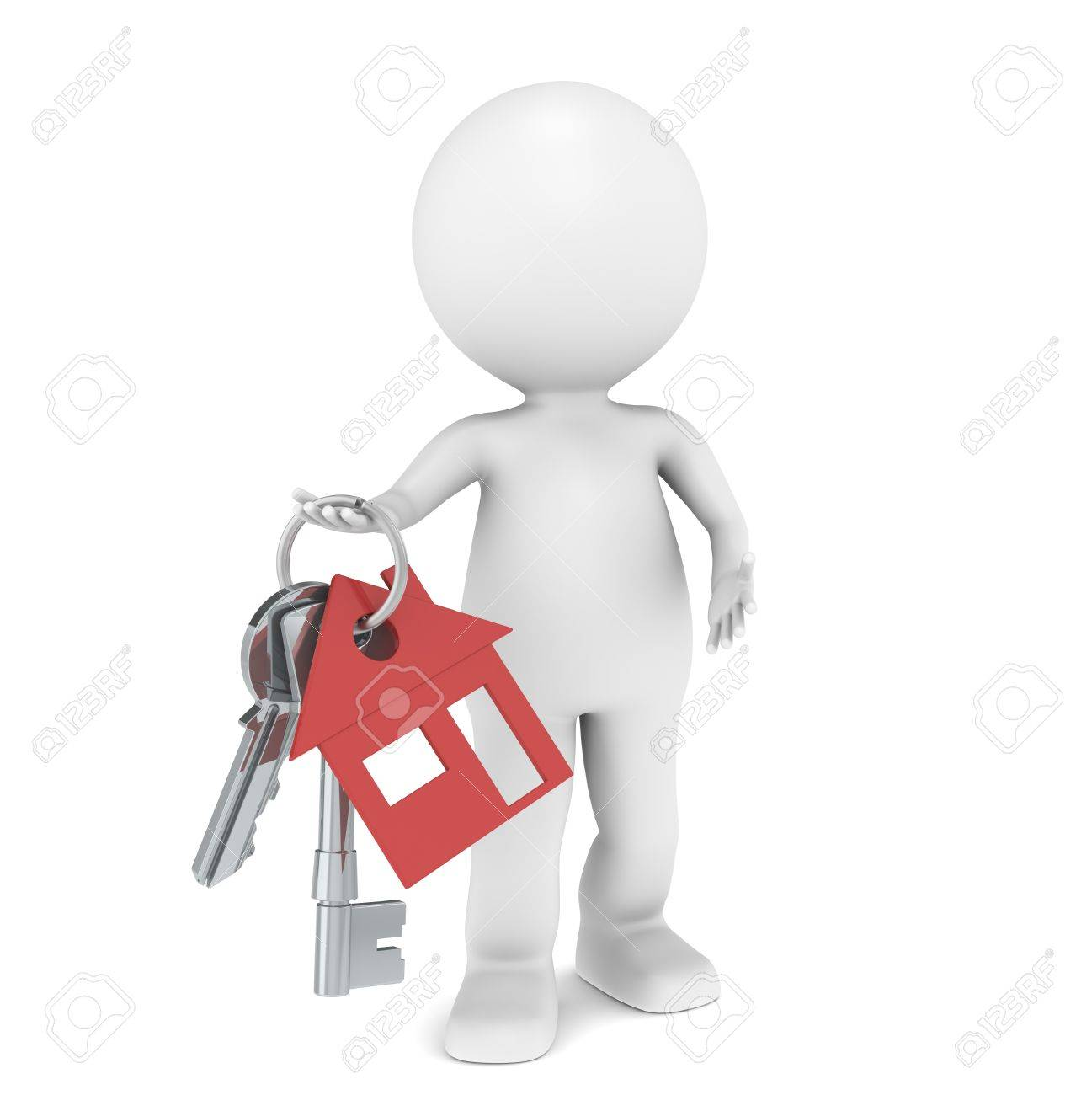 Real Estate Agent. 3D little human character holding a pair of House Keys. Red Stock Photo - 10201623