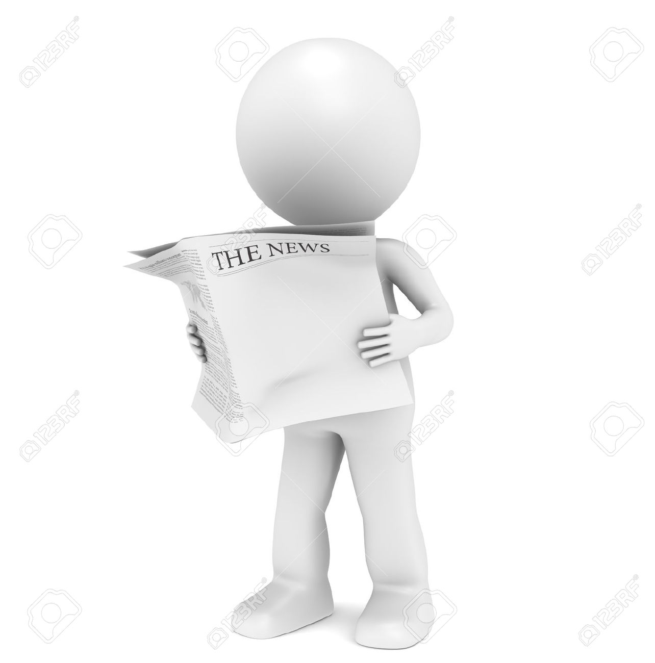 The News. 3D little human character Reading a News Paper. Blank Front Page for Copy Space. Stock Photo - 10201617