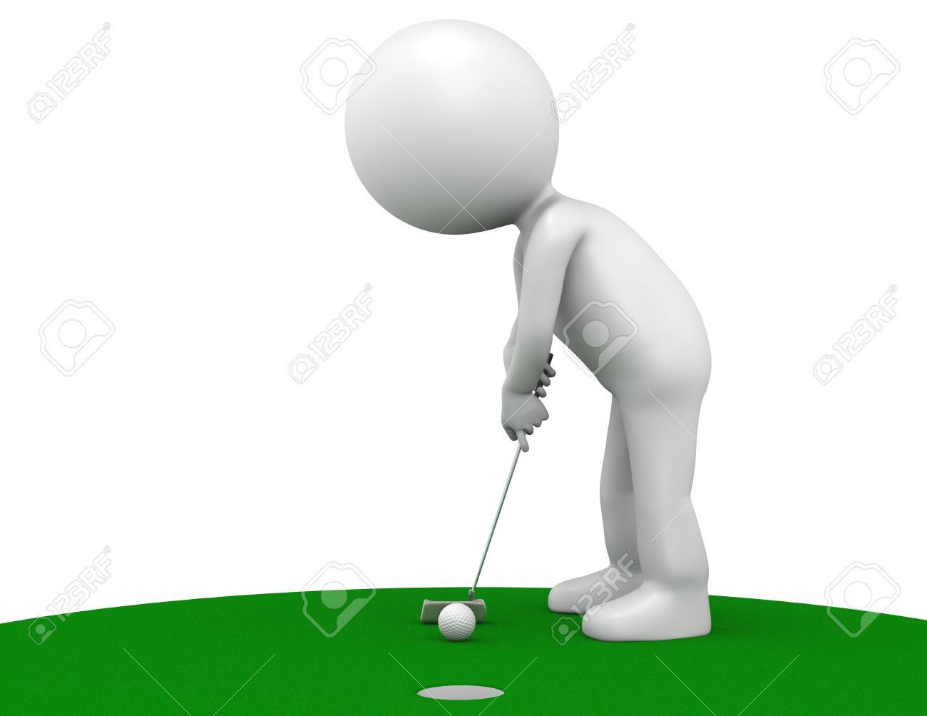 3D little human character The Golfer making a putt on Green. People series. Stock Photo - 10441681