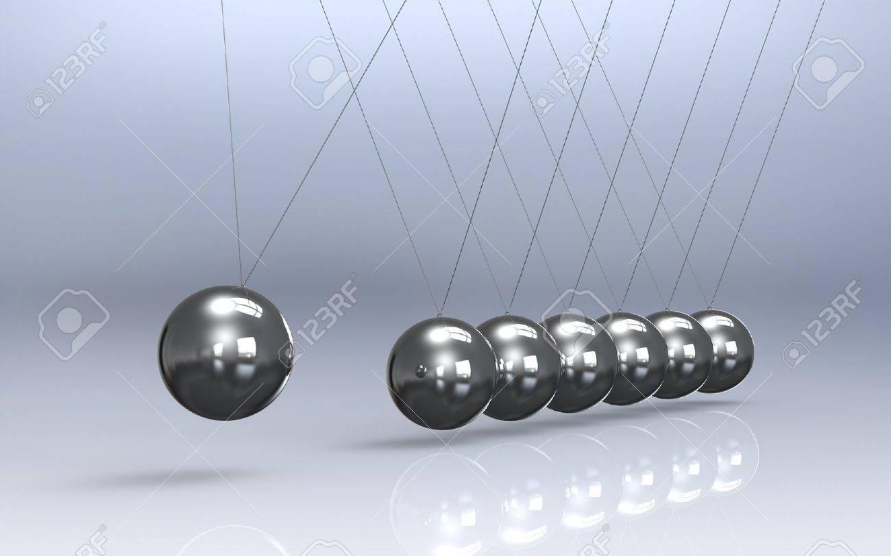 Newtons cradle Reflective Floor. Pendulum Stock Photo - 10477586