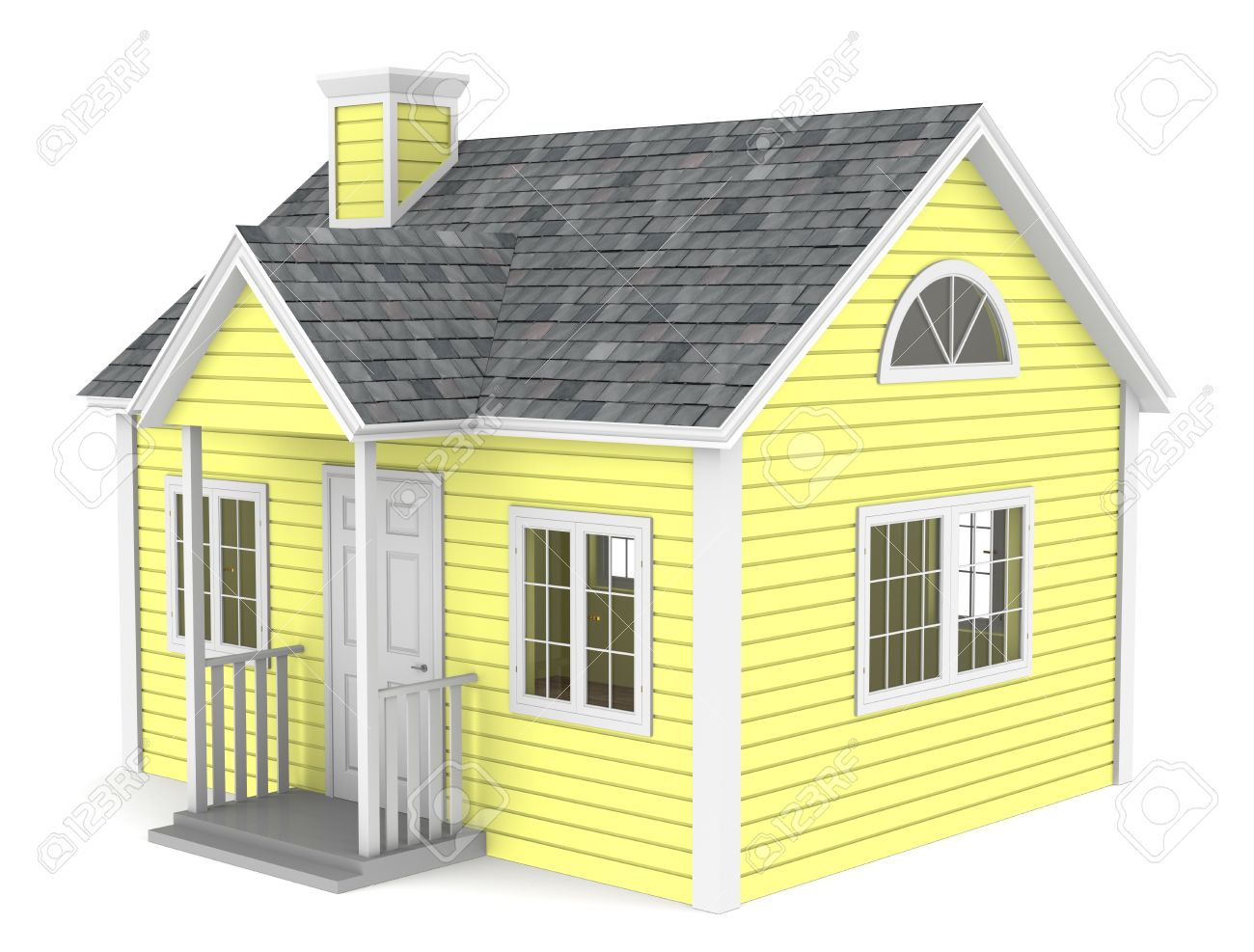 A simple house yellow pastel color stock photo 10588727