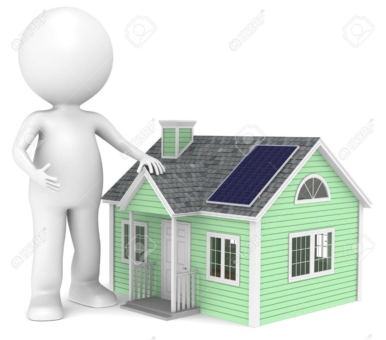 3D little human character and his Eco house. People Series. Stock Photo - 10588726