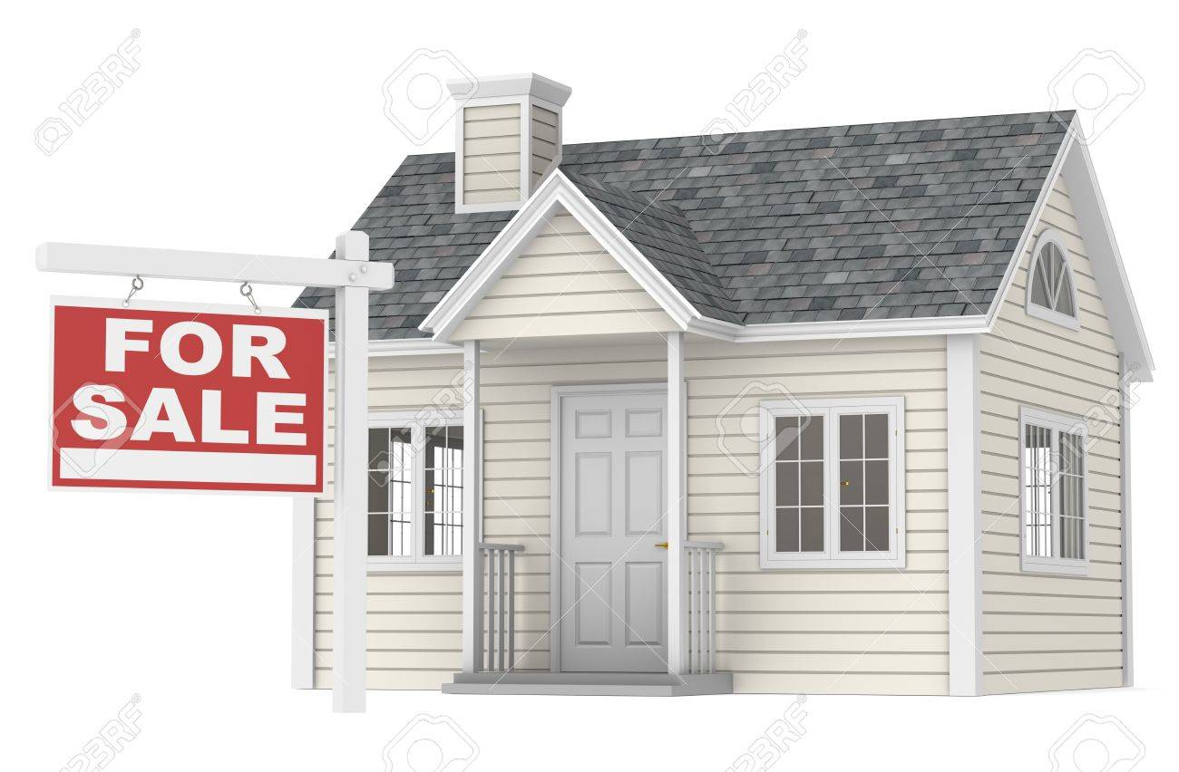 A simple house with a for sale sign stock photo 10695300
