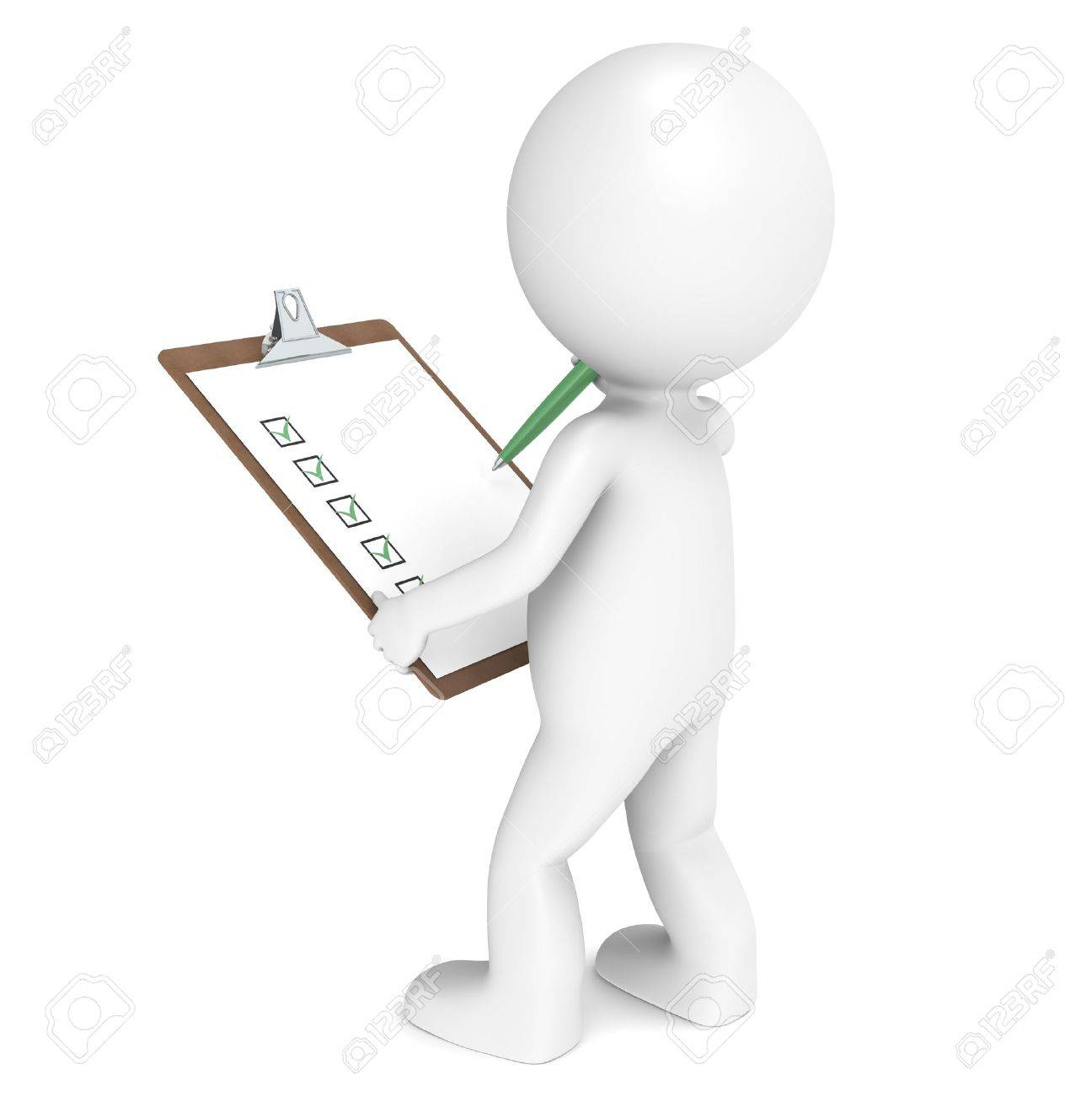 3D little human character The Inspector holding a Clip Board and a Pen. People series. Stock Photo - 10695334
