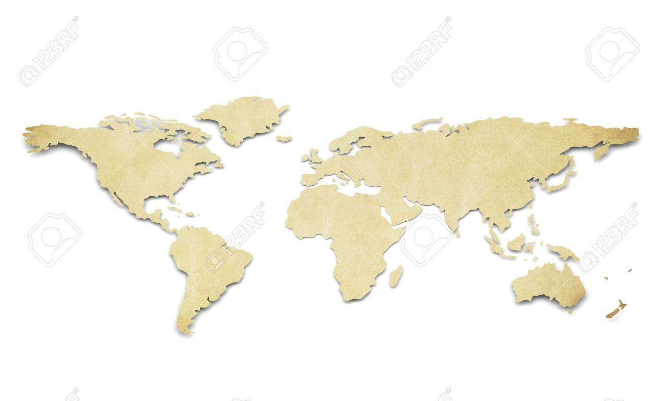 A World Map In 3d Paper Shape Thin And Antique Style Stock Photo