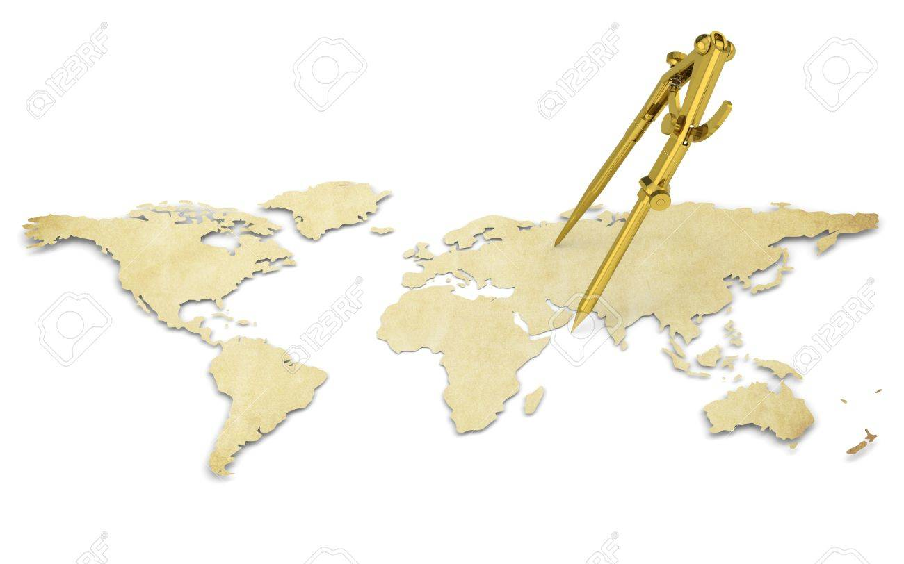 A World Map In D Paper Shape Thin And Antique Style Brass - World map shape