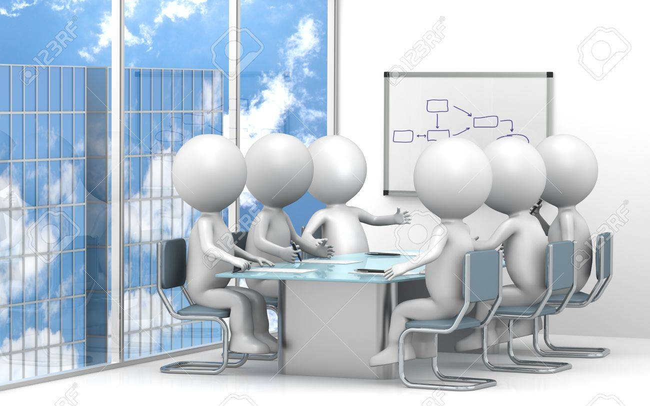 3D little human characters X6 in the meeting room. Skyscraper view.Business People series. Stock Photo - 11263202