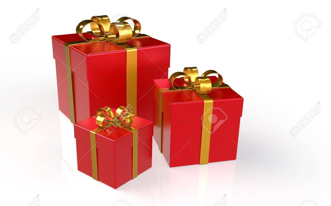 set of 3 christmas presentsred with golden ribbons stock photo 11763634
