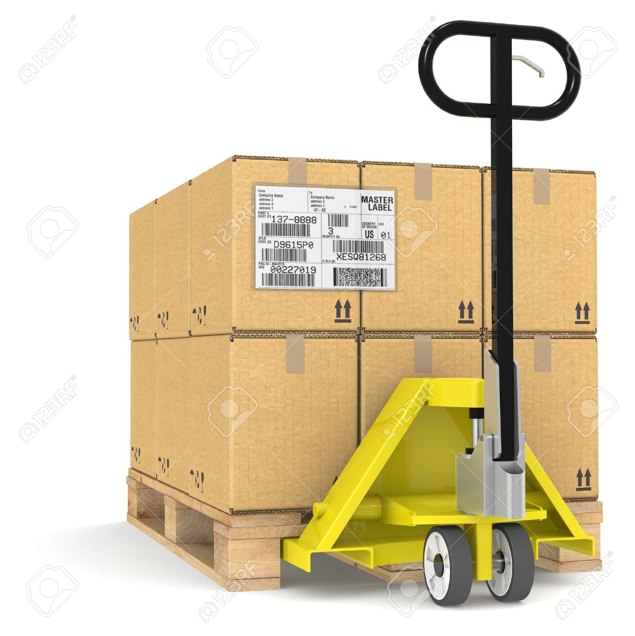 pallet truck jack and a pallet cardboard boxes sample edi pallet truck jack and a pallet cardboard boxes sample edi label stock photo