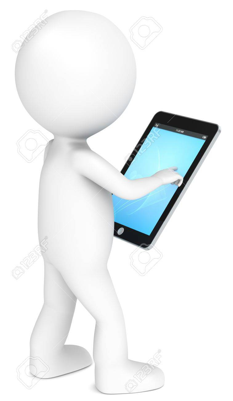 3D little human character holding a Tablet Pad. Blue screen. People series. Stock Photo - 12703572