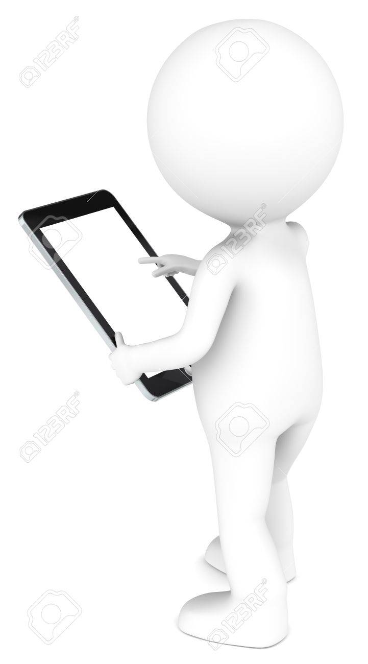 3D little human character holding a Tablet Pad. Blank screen for copy space. People series. Stock Photo - 12703349