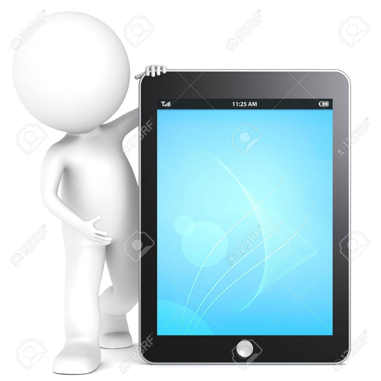 3D little human character with a Tablet Pad. Blue Screen. People series. Stock Photo - 12703589