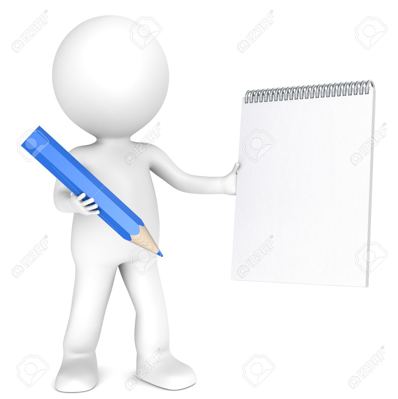 3D little human character holding a Blank notepad and a Blue Pencil. Textured Paper. Copy Space. People series. Stock Photo - 12703576