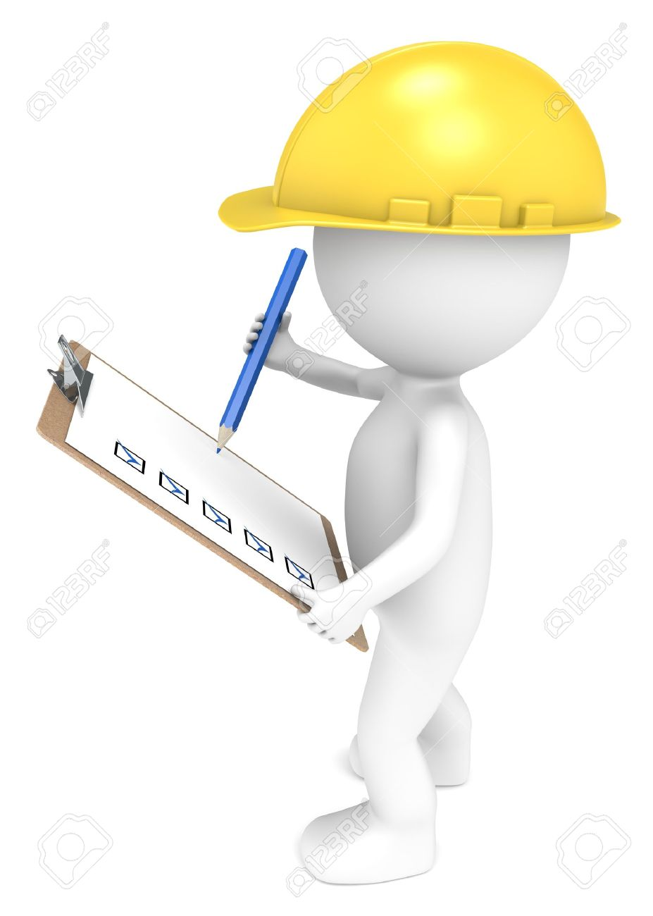 3D little human character The Builder holding a Clip Board and a Pencil  Blue and Yellow  People series Stock Photo - 12703586