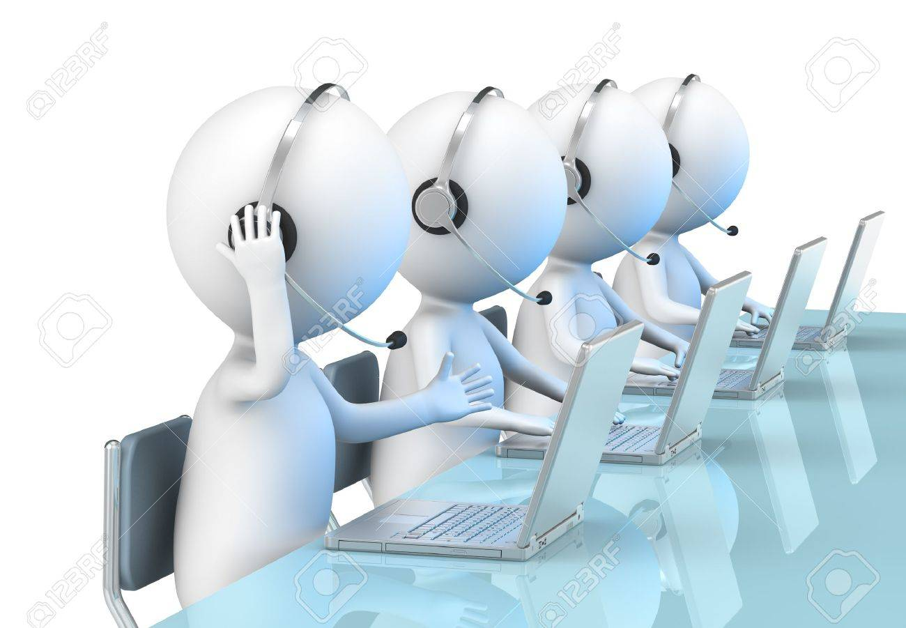3D little human character X 4 in a Call Center. Business People series. Stock Photo - 12703893