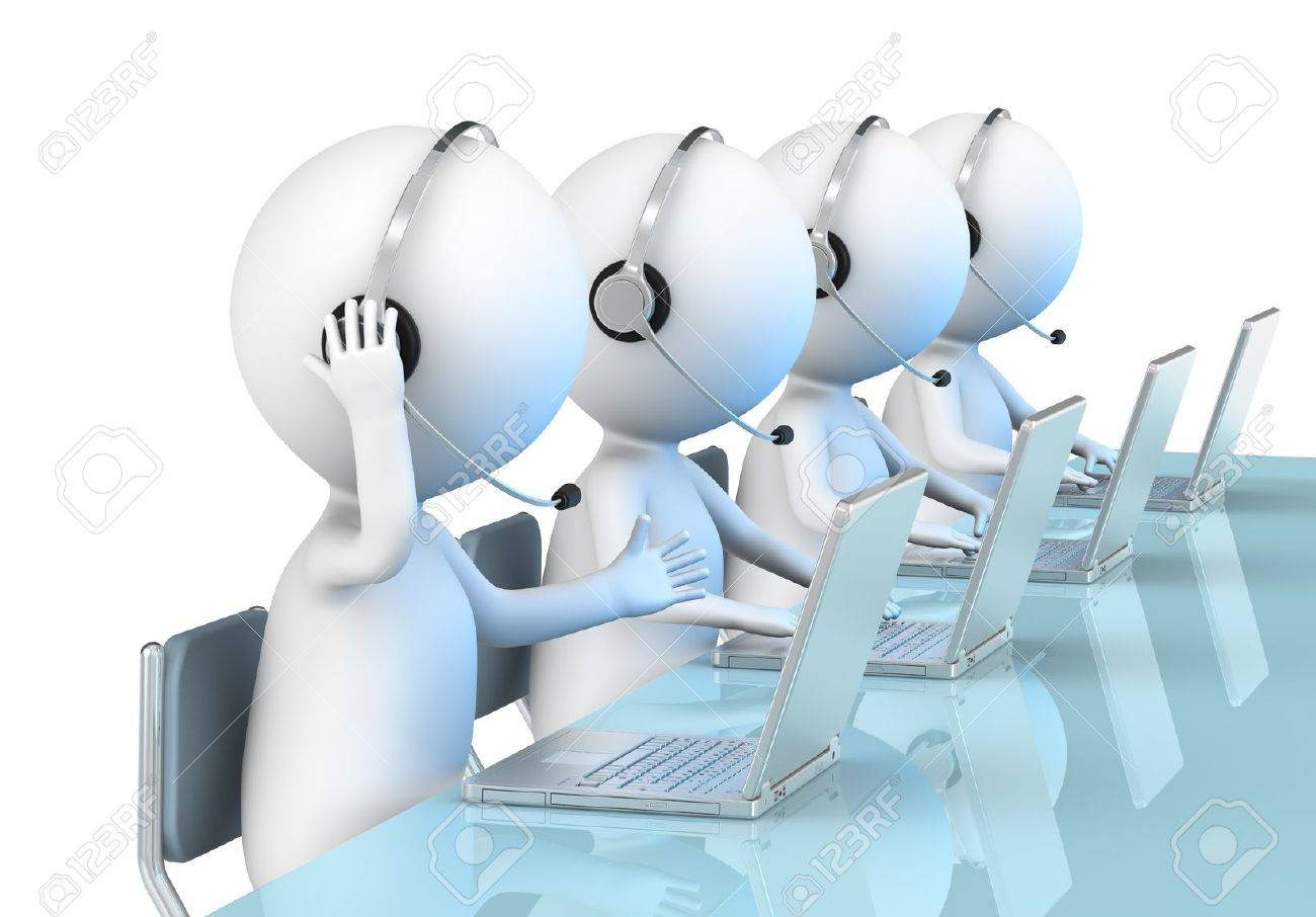 3D little human character X 4 in a Call Center  Business People series Stock Photo - 12703902
