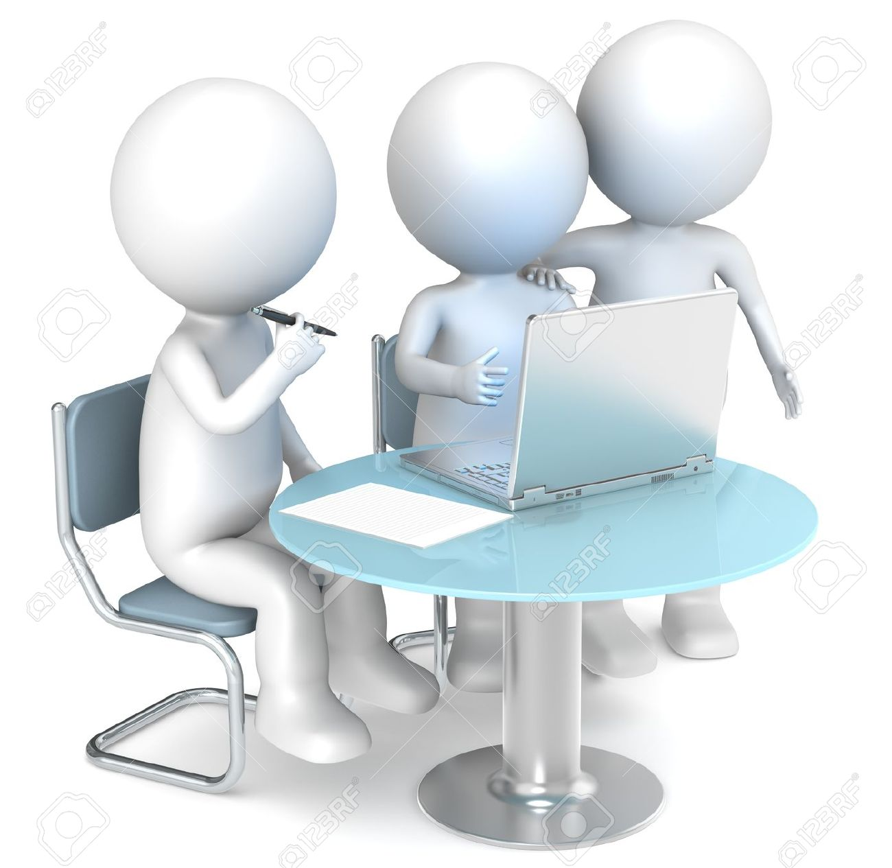 3D little human characters X3 working. Business People series. Stock Photo - 12888363