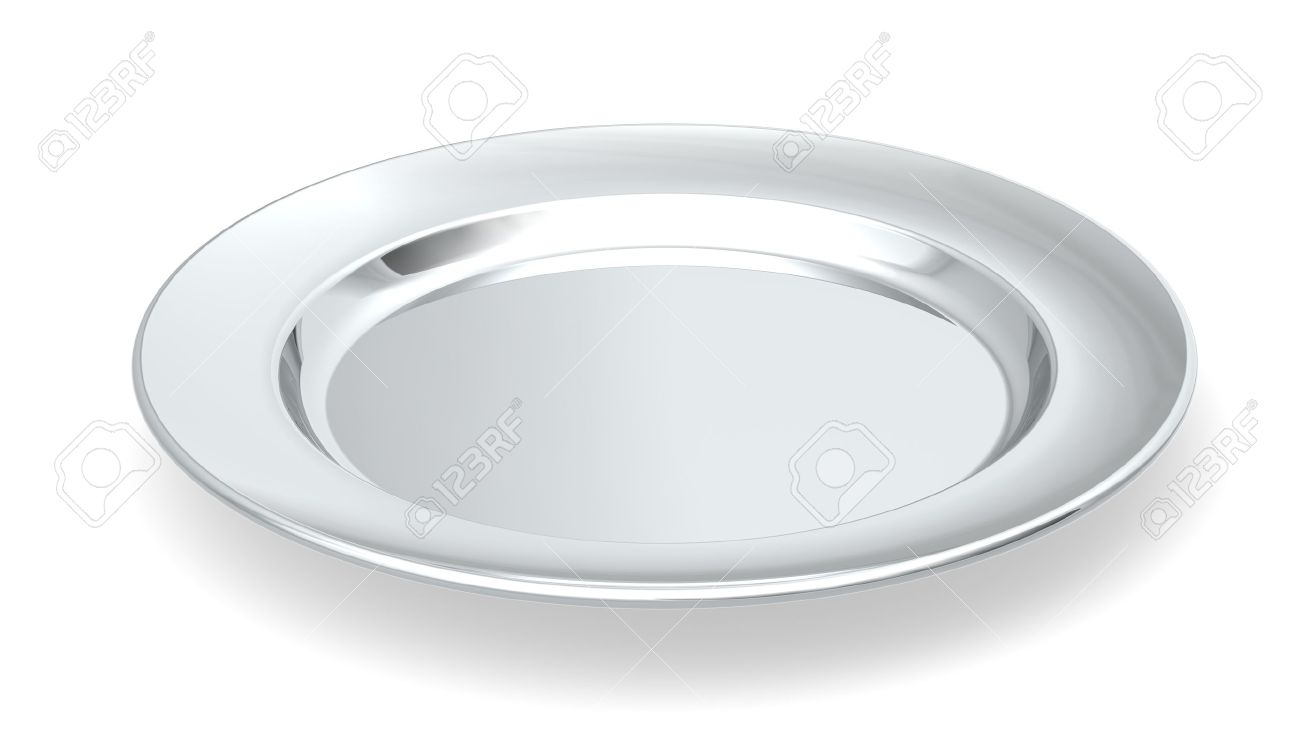 Served On Silver Platter A Silver Plate On White Background Stock Photo Picture And Royalty Free Image Image 13368219