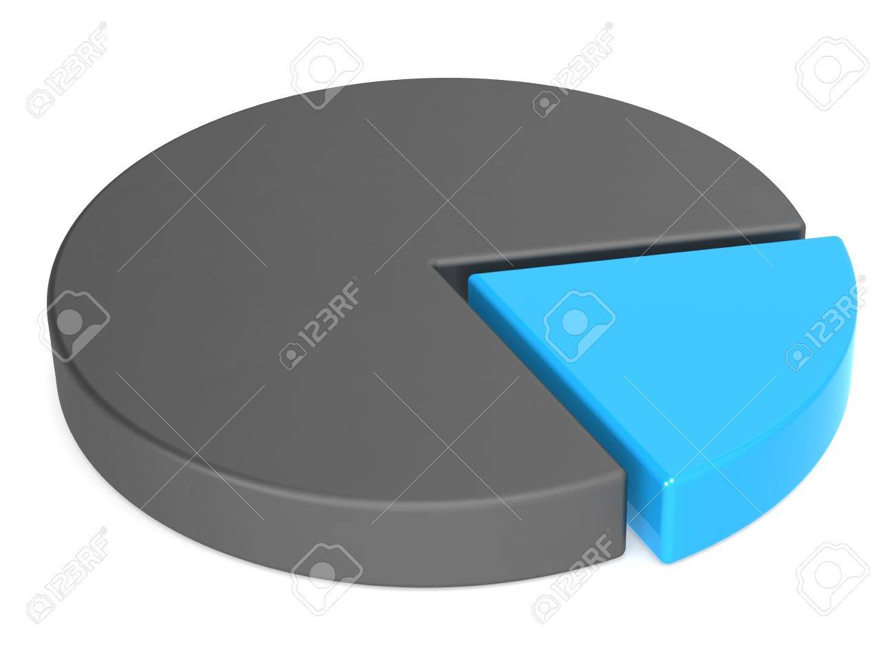 Matte Black And Blue Pie Chart White Background Business