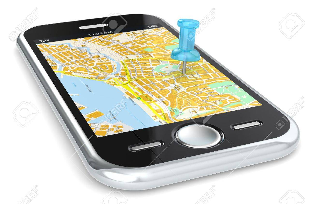 Black Smartphone with a GPS map. Blue Pushpin. Stock Photo - 13663779