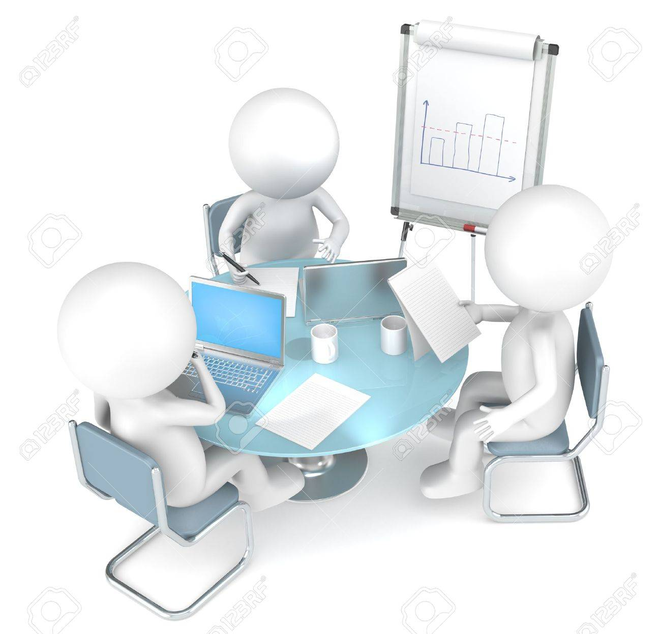 3D little human characters X3 working together. Business People series. Stock Photo - 13773499