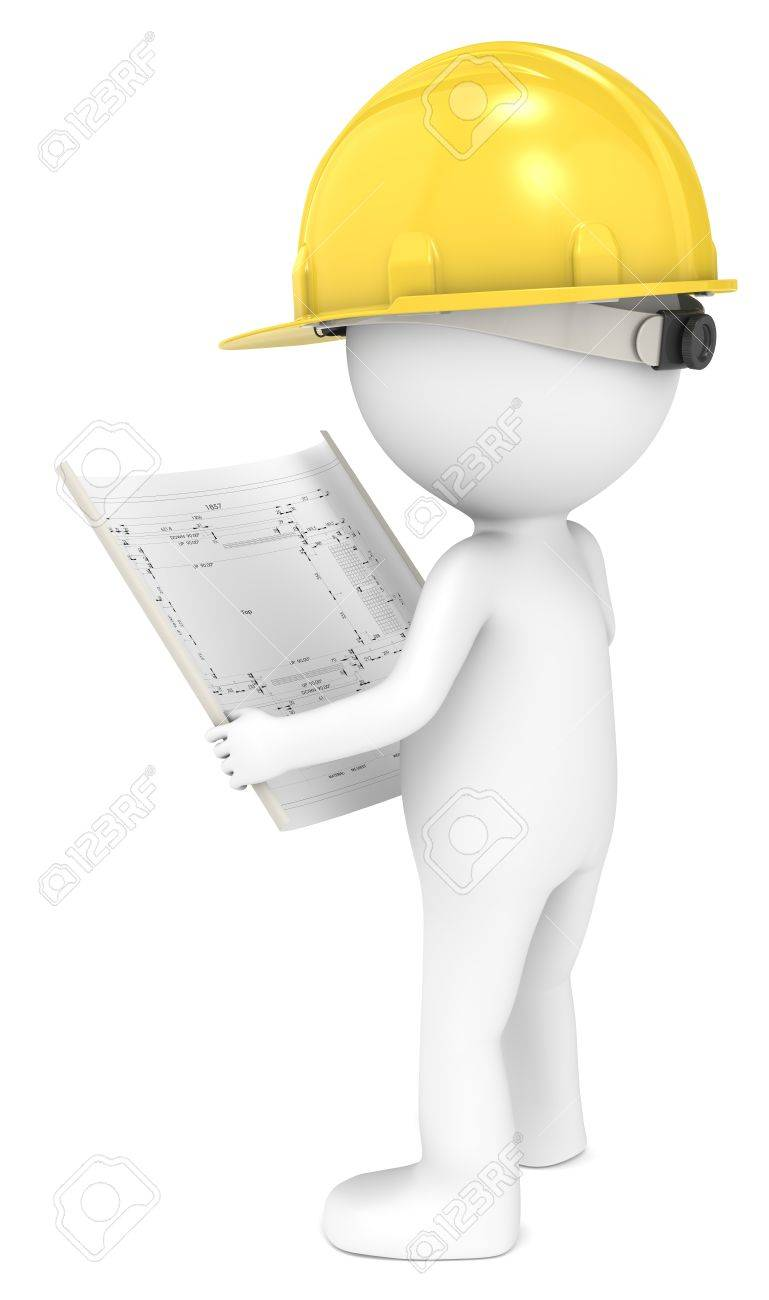 3d little human character the builder looking at a blueprint stock 3d little human character the builder looking at a blueprint back view people series stock photo malvernweather Image collections
