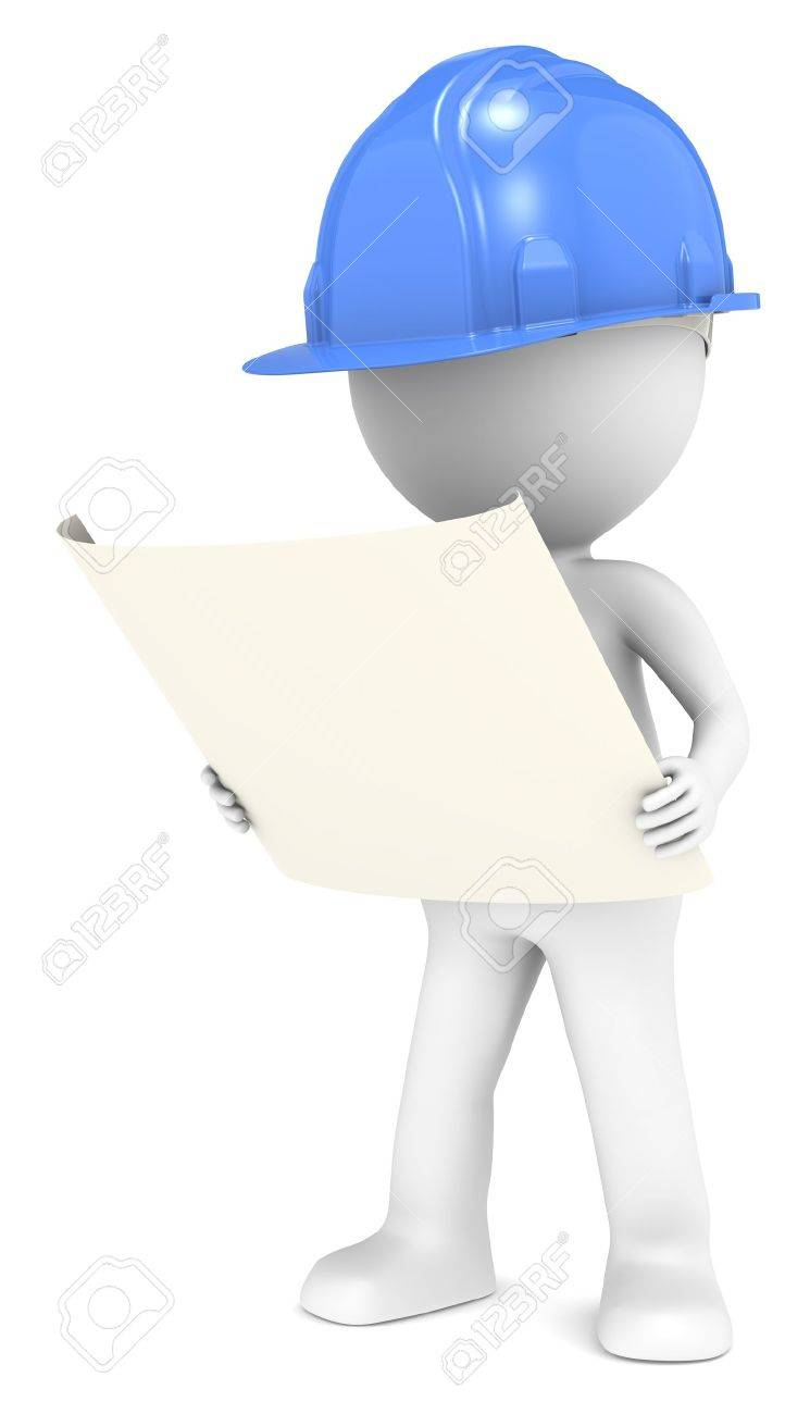 3d little human character the builder looking at a blueprint 3d little human character the builder looking at a blueprint front view blue people series stock malvernweather Images