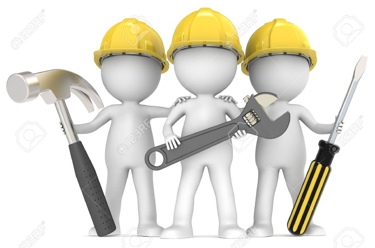 3D little human character The Builders X3 with Tools  People series Stock Photo - 14310563