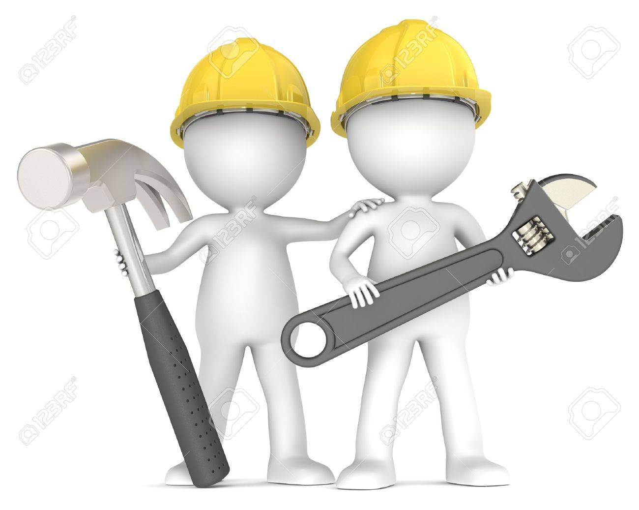 3D little human character The Builders X2 with Hammer and Wrench. People Series. Stock Photo - 14310560
