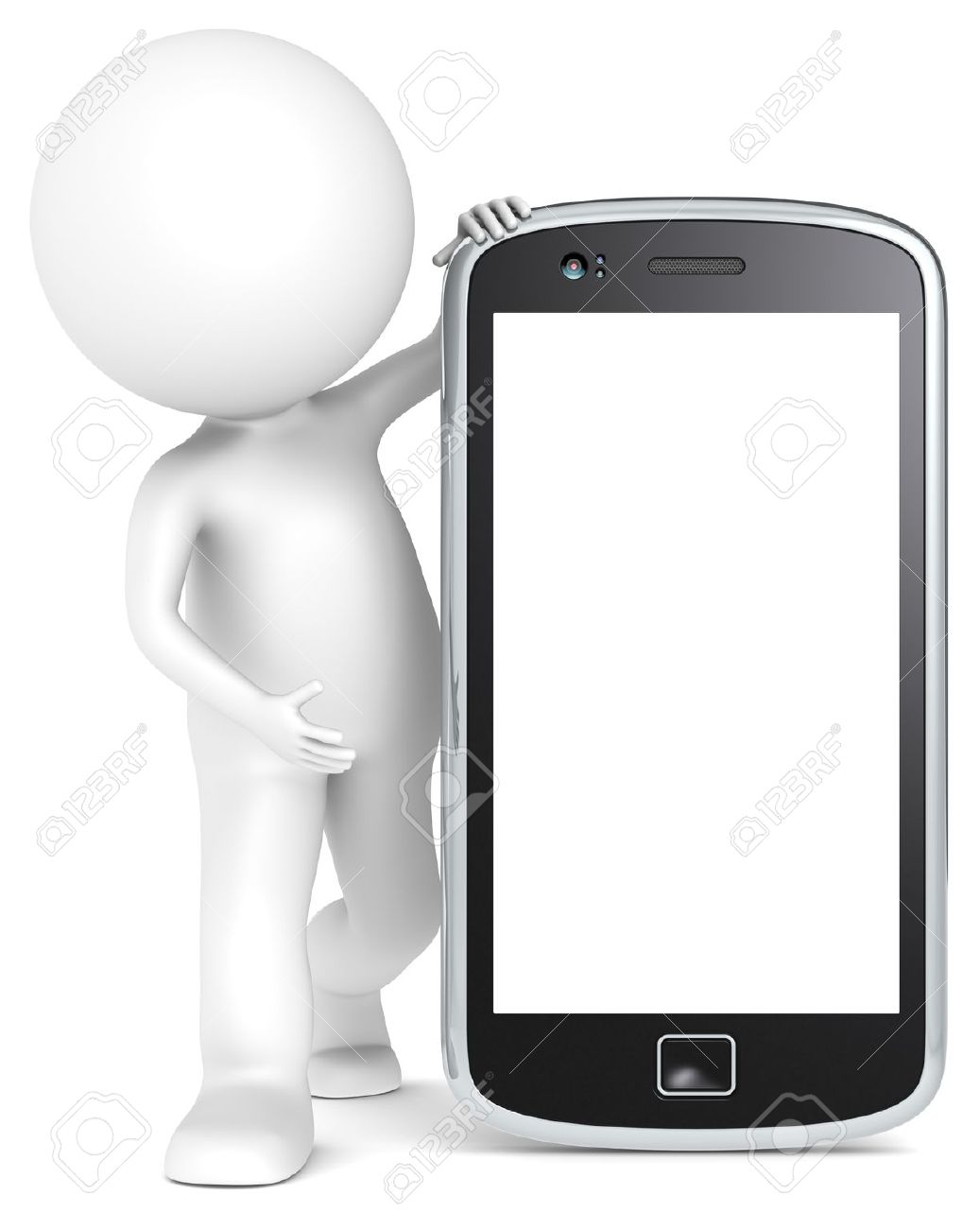 3D little human character holding a Smartphone. Blank for Copy Space. People series. Stock Photo - 14828001