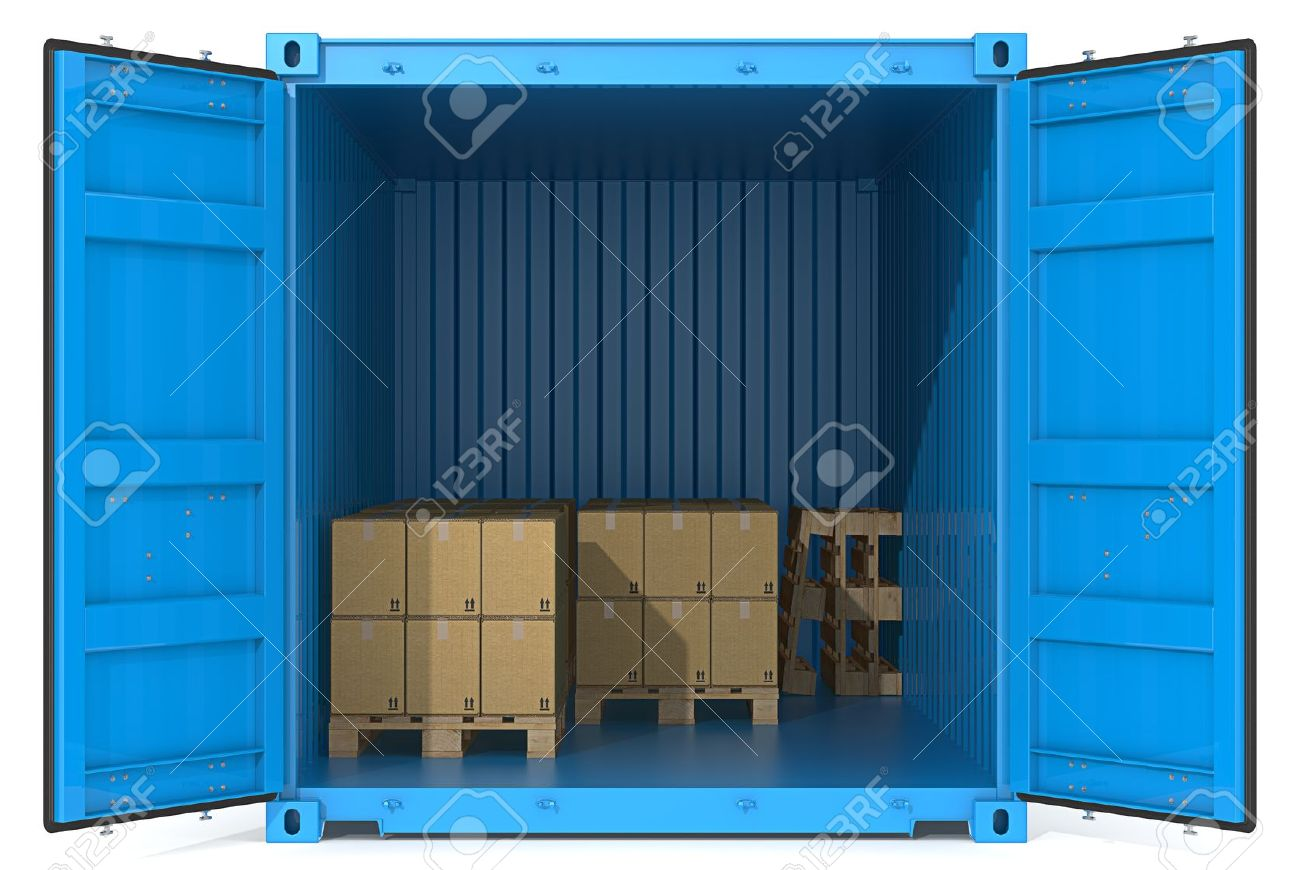 Blue Cargo Container. Open Doors. Pallets and Boxes. Front view. Stock Photo - 15034261