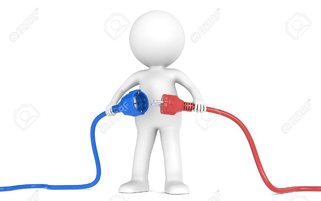 3D little human character holding blue and red Power Cable  Male and Female plug   People series Stock Photo - 15362005