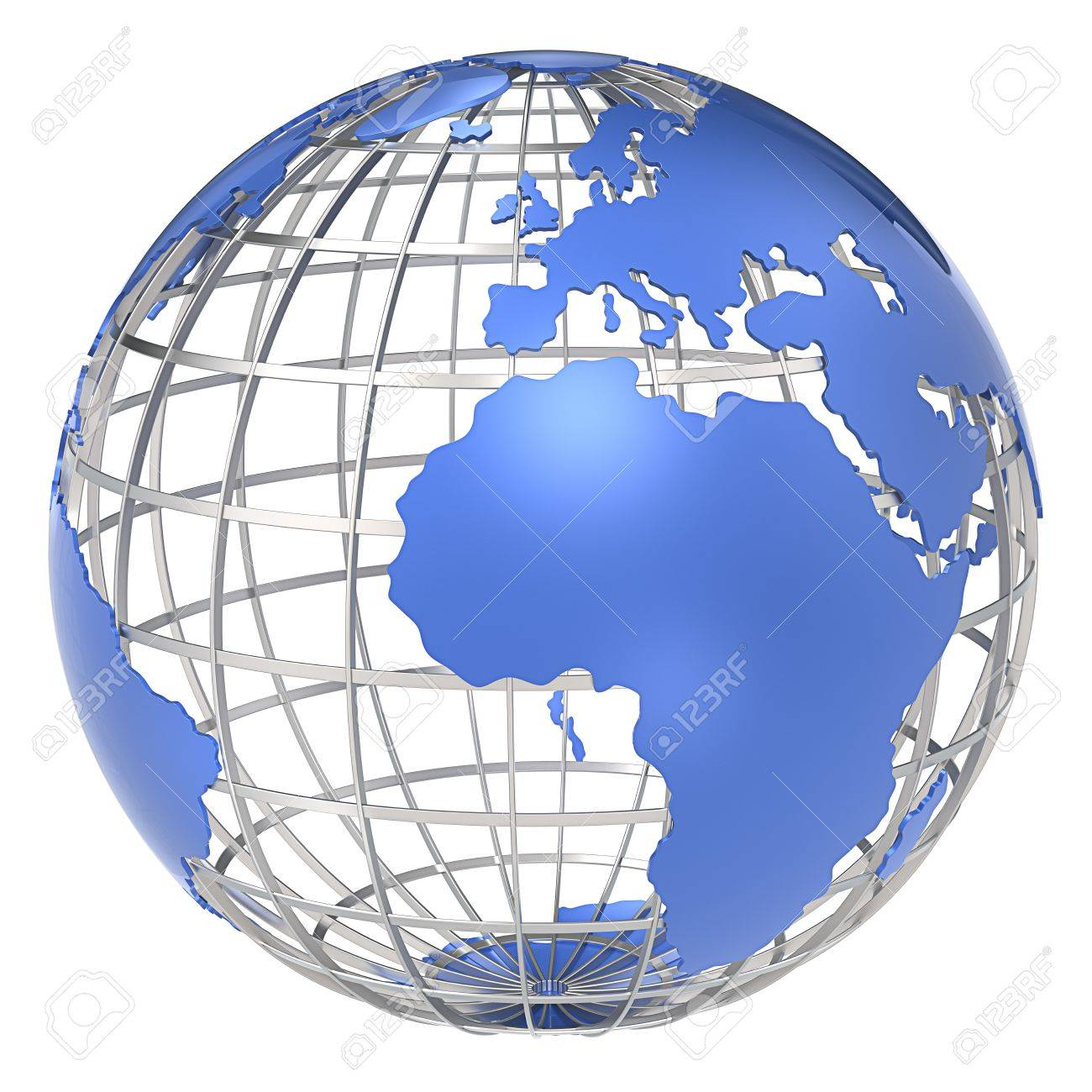 The Earth, Frame Structure Of Steel Blue Continents Isolated Stock ...