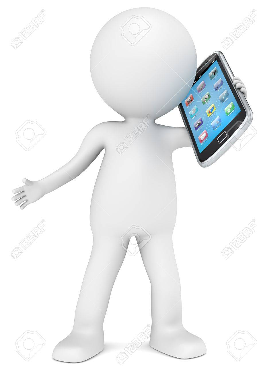 3D little human character holding a Smart Phone. App Icons. People series. Stock Photo - 16172020