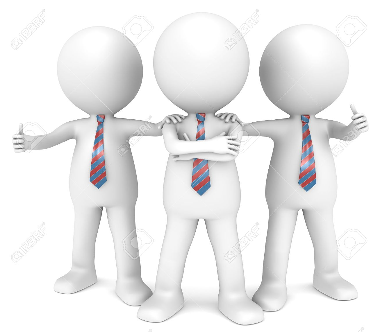 3D little human character the Business Man x3 in a Confident pose  Red and Blue Tie  People series Stock Photo - 16308596