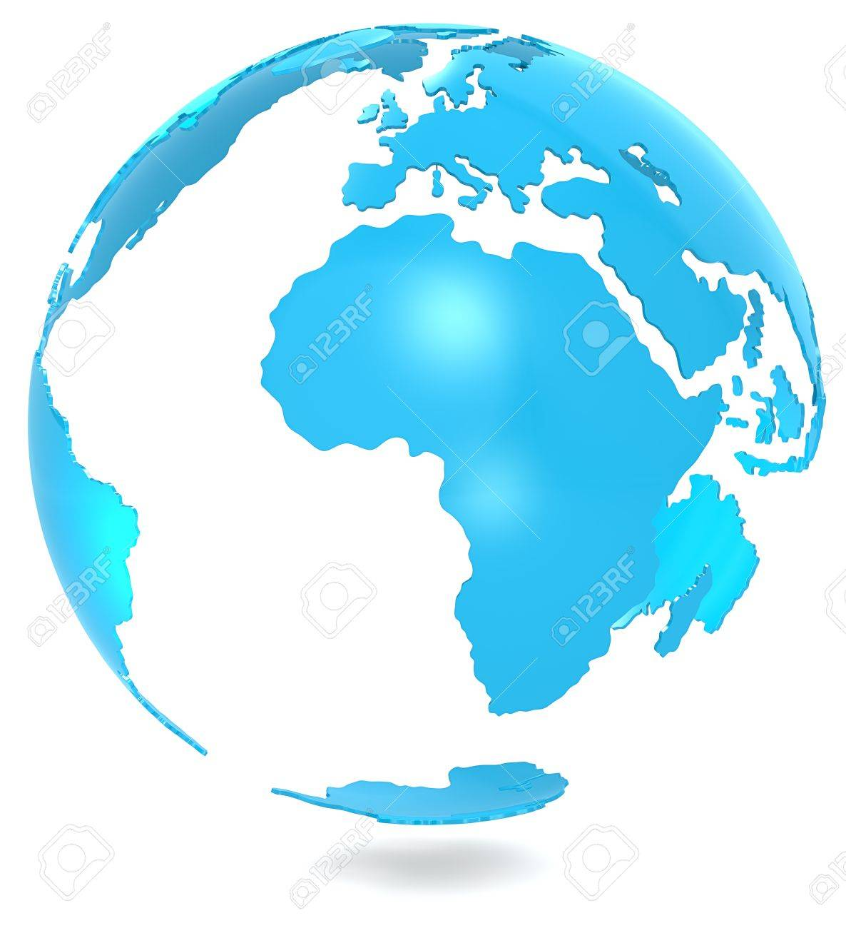 Abstract 3d Blue Earth Model. Isolated. Stock Photo, Picture And ...