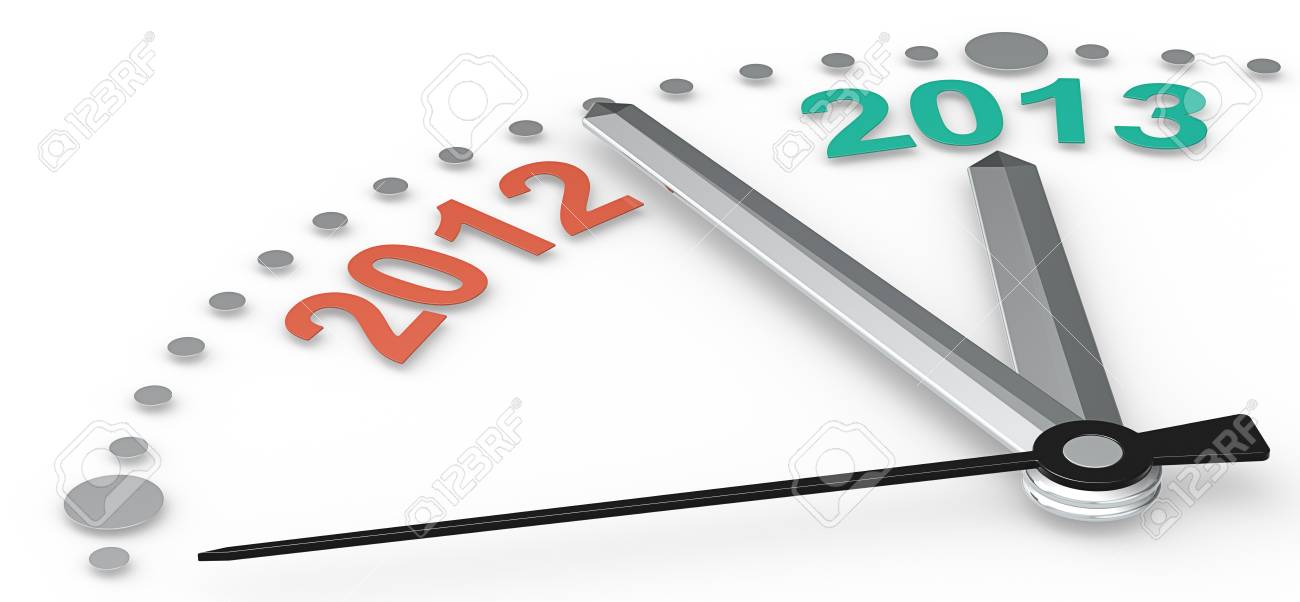 Abstract clock with 2012 and 2013  Emerald green and tangerine orange Stock Photo - 16976084