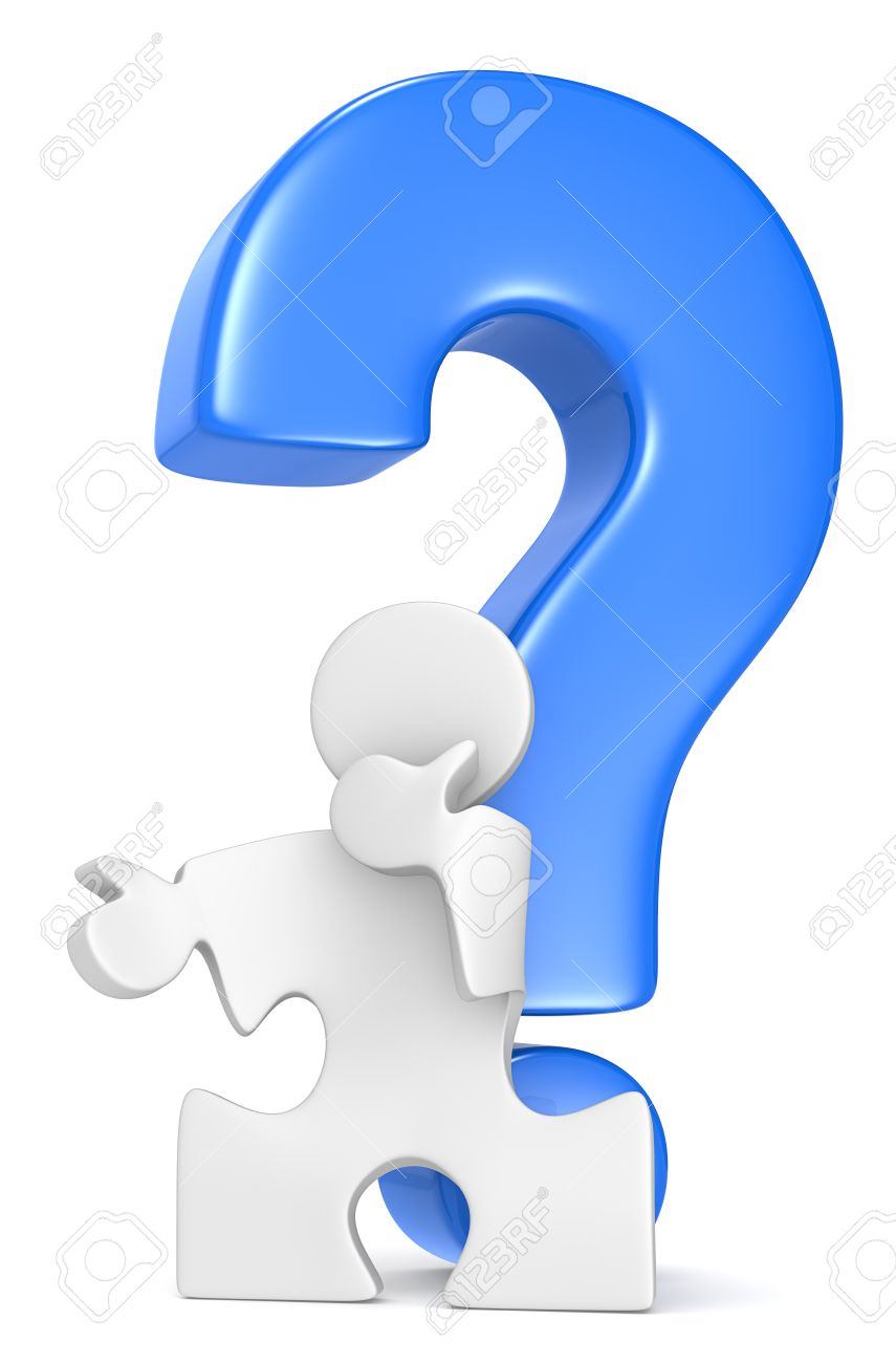 Puzzle People infront of Question Mark  Blue Stock Photo - 19113300