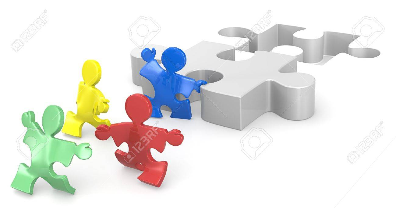 Puzzle People helping hands for solution  1 of 2 Stock Photo - 19113291