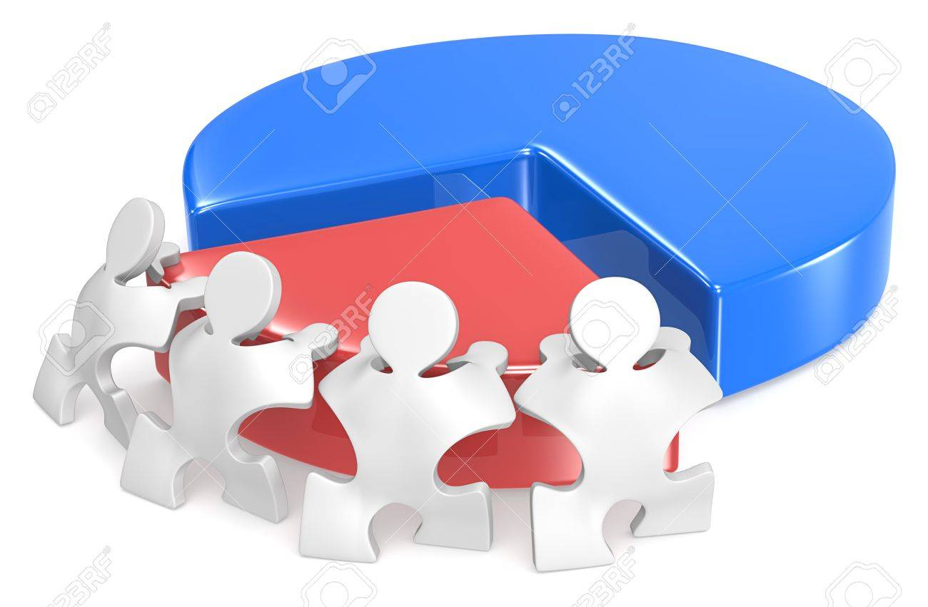 Effort and Result  Puzzle peoples pushing part of Pie Chart Stock Photo - 20461784