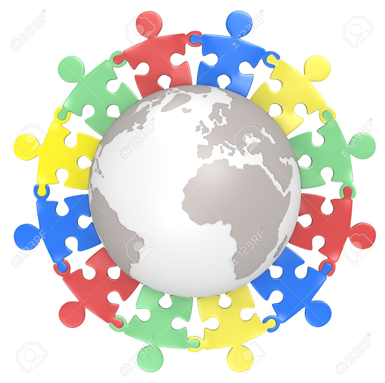 Multicultural  Puzzle people holding hands around the Globe  Color Version  Isolated Stock Photo - 20461785