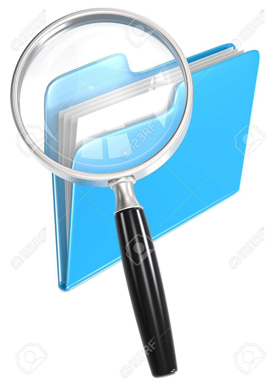 Search  Magnifying Glass over folder  Blue Stock Photo - 21454545