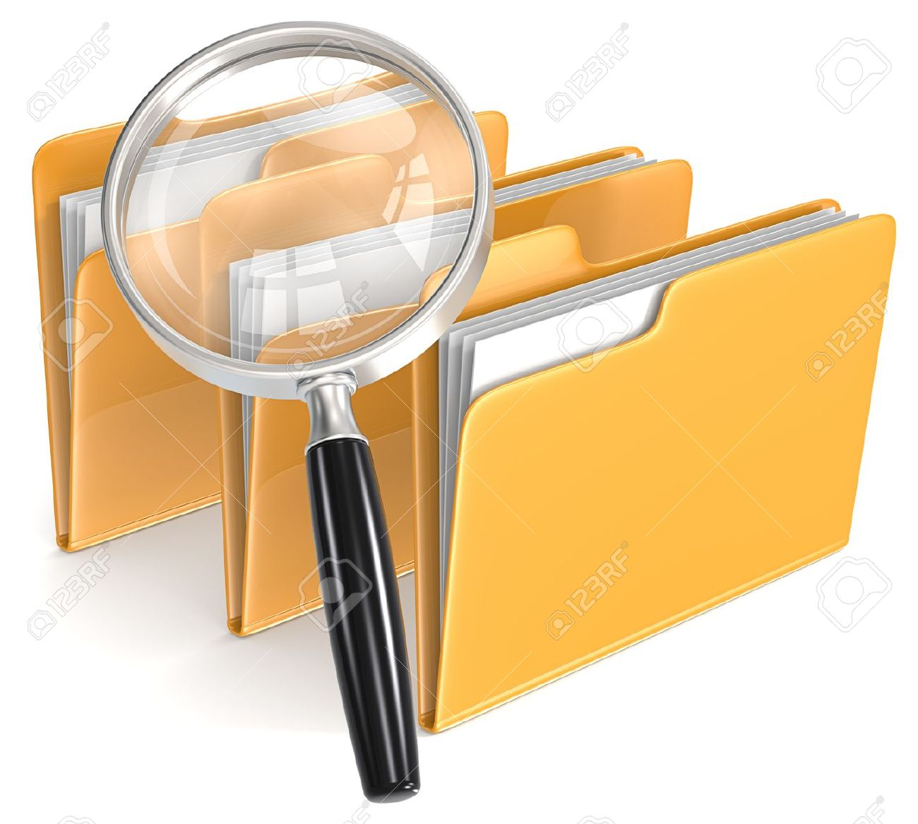 Search Magnifying Glass over 3 folders Stock Photo - 21454579