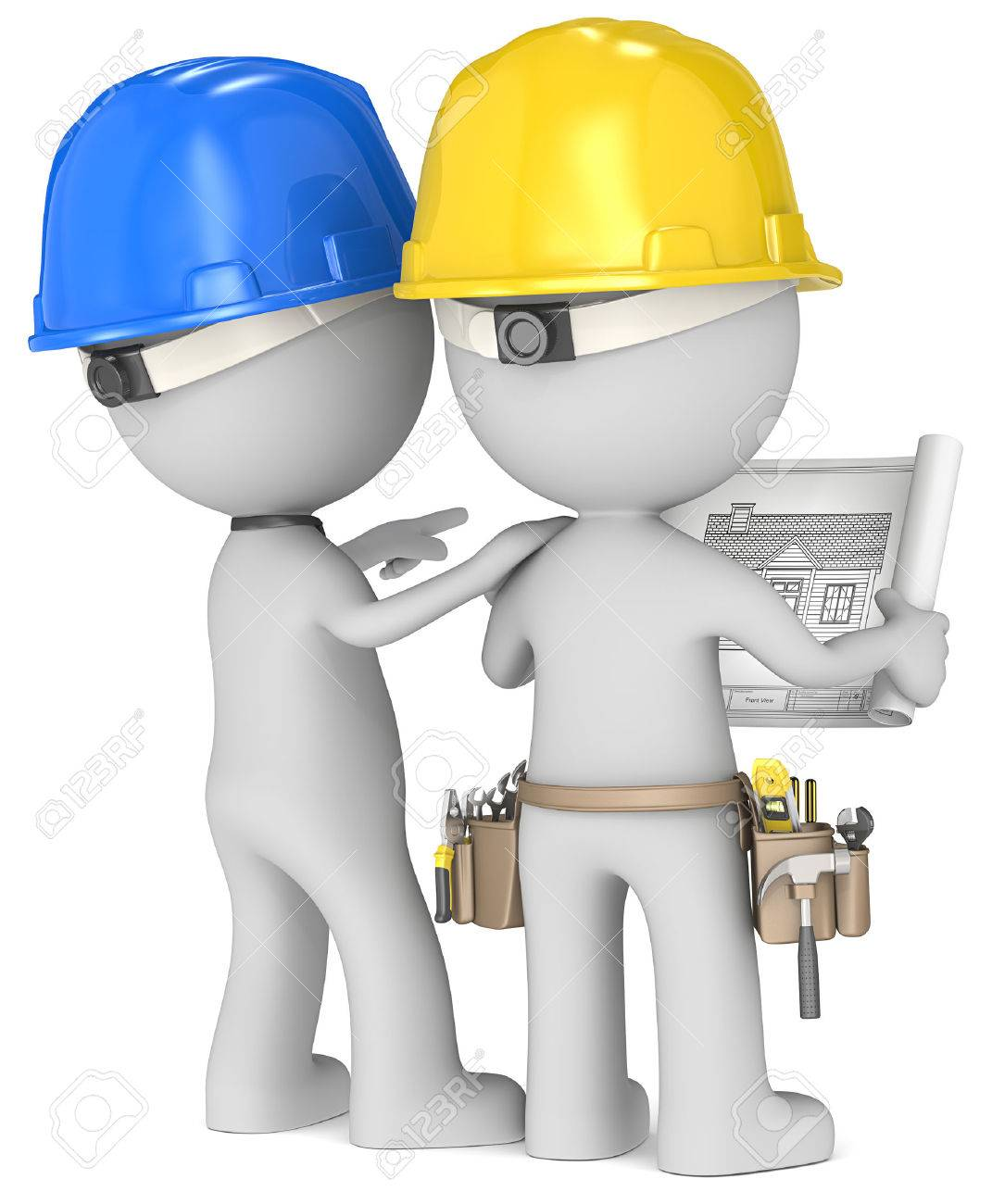 Planning  Dude the Builders x 2 looking at blueprint  Rear view Stock Photo - 23123178
