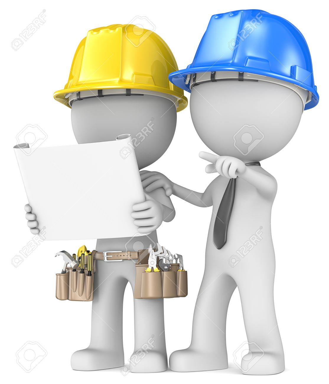 Building project planning dude the builder with contractor looking building project planning dude the builder with contractor looking at blueprint stock photo 23123179 malvernweather Images