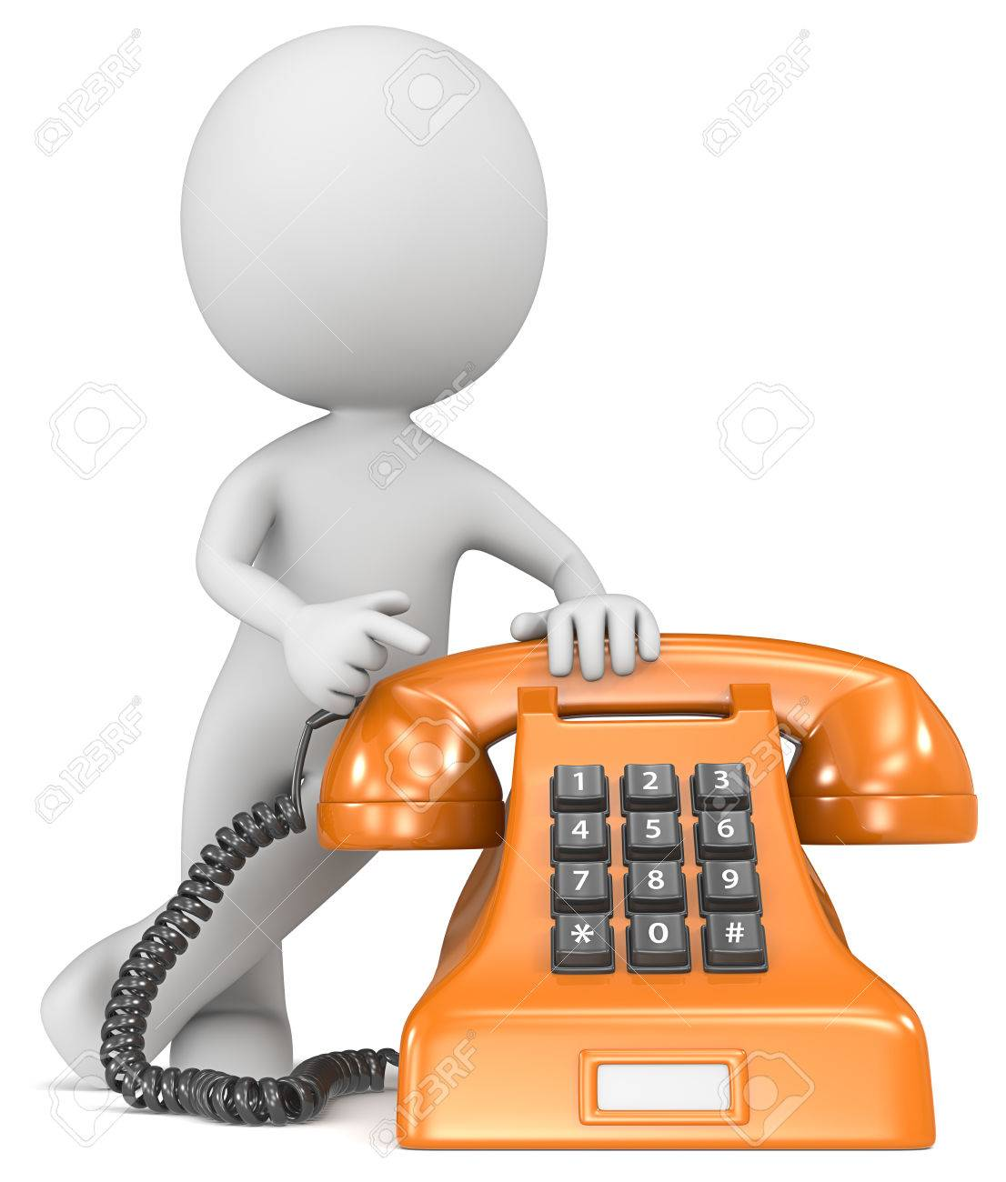 Call us  The Dude pointing at a classic telephone  Orange with white label Stock Photo - 23123184