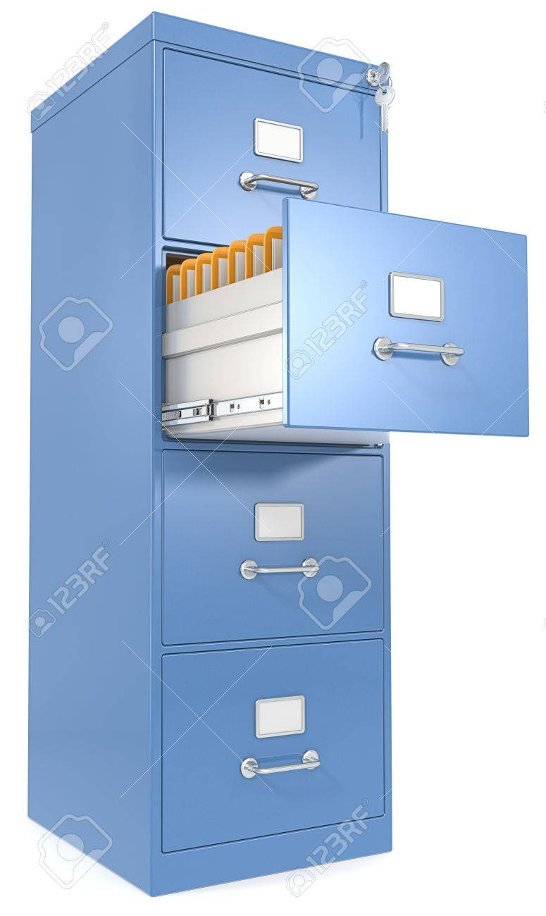 Blue File Cabinet Open Drawer With Files Lock And Key Stock Photo ...