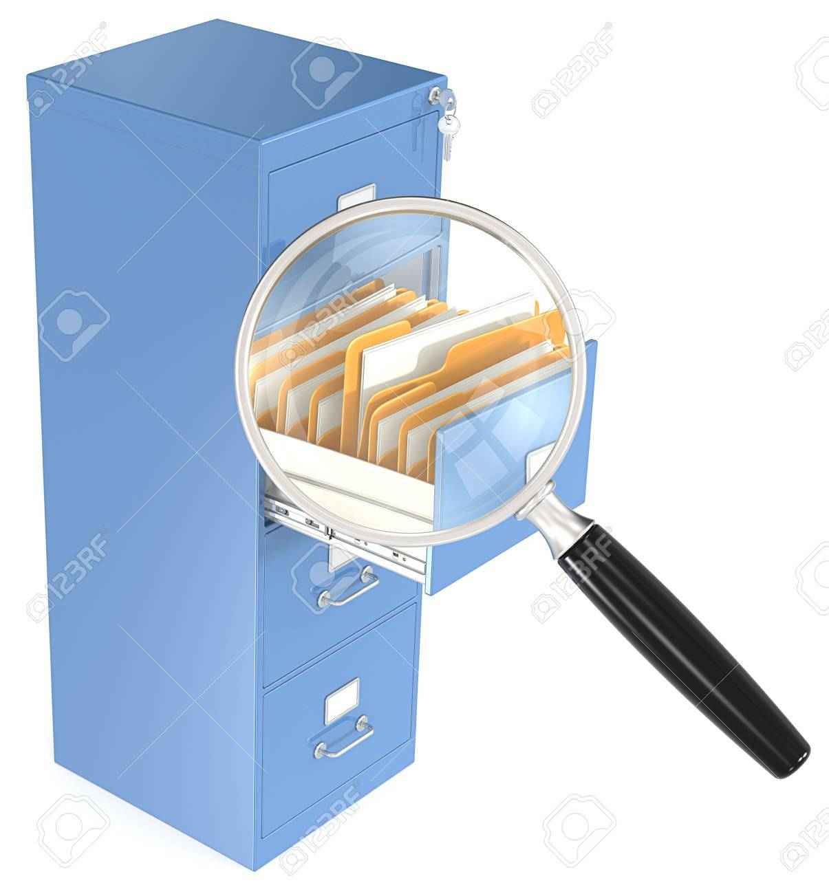 Magnifying glass over open file cabinet drawer Stock Photo - 24477801