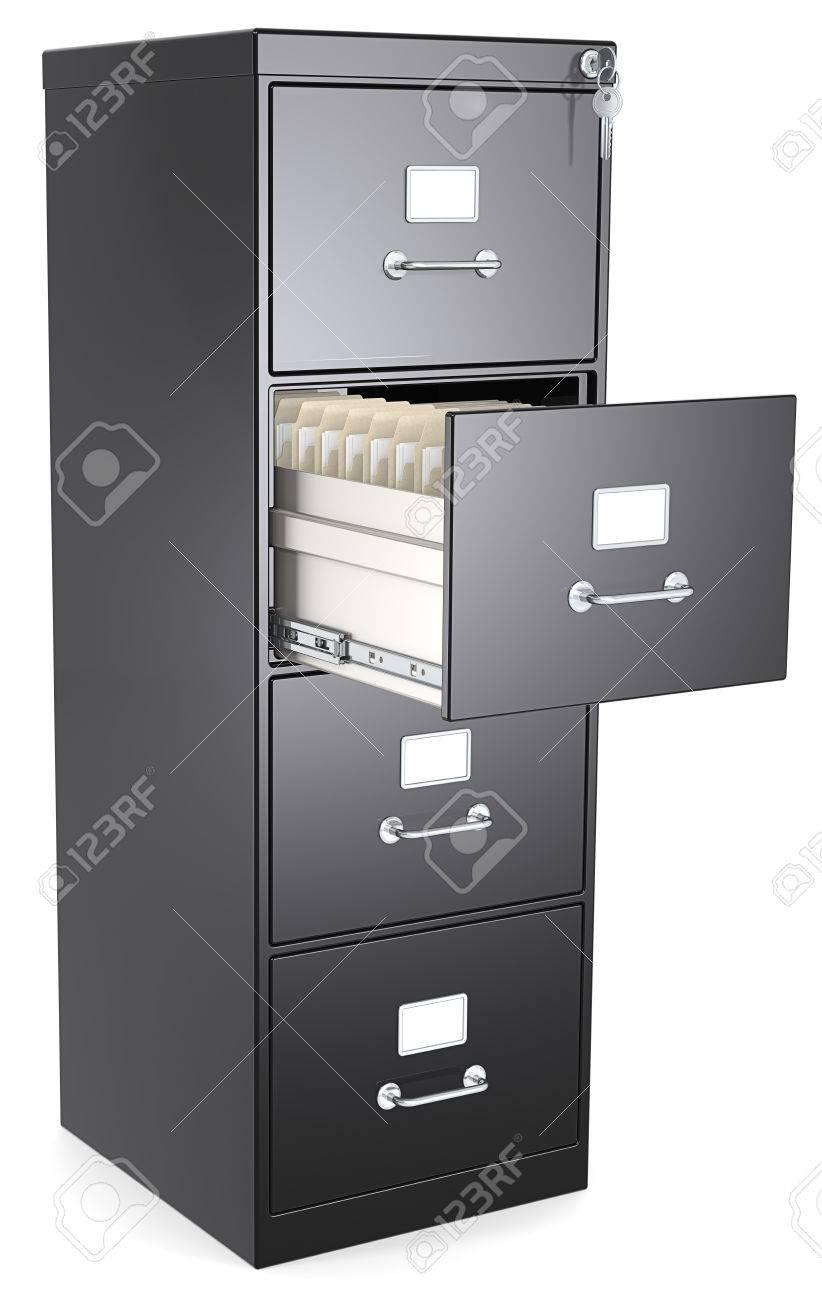 Negro File Cabinet Negro Archivador Cajón Abierto Con Los Archivos ...